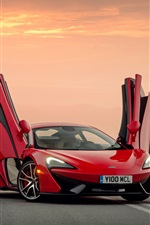 McLaren 570S red supercar, doors opened iPhone Wallpaper