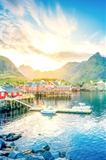 Norway, Lofoten, lake, mountains, gorge, sunrise, town, houses iPhone wallpaper