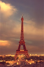 Paris, Eiffel Tower, sky, clouds iPhone wallpaper