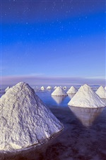 Piles of salt, Dead Sea, blue sky iPhone wallpaper