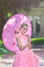 Pink dress girl, child, umbrella iPhone wallpaper