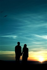 Romantic evening, couple, sunset, silhouette iPhone wallpaper