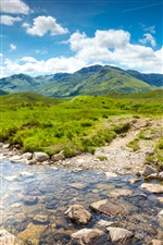 Scotland nature scenery, mountains, grass, stream, rocks iPhone wallpaper