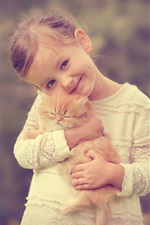 Smile cute girl with kitten iPhone wallpaper