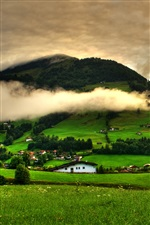 Spring landscape, grass, trees, green, mountains, clouds, houses iPhone wallpaper