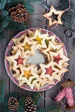Stars cookies, baking, dessert, food, sewing, twigs, pine cones iPhone wallpaper