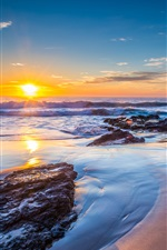 Sunset, ocean, Jones Beach, New South Wales, Australia iPhone wallpaper