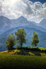 Austria, mountains, trees, clouds iPhone Wallpaper