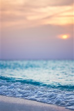 Beach, sea, sunset, waves iPhone Wallpaper