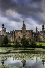 Belgium, Ooidonk Castle, pond, trees, clouds iPhone Wallpaper