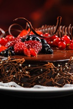 Chocolate cakes, berries, raspberries, dessert iPhone wallpaper