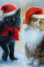 Christmas cats, snow, scarf, hats iPhone wallpaper