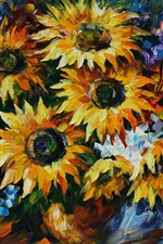 Flowers painting, sunflowers iPhone wallpaper