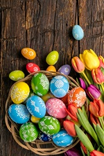Happy Easter, colorful eggs, wood, tulips flowers, spring iPhone wallpaper