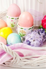 Happy Easter, flowers, eggs, spring iPhone wallpaper