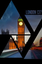 London city, Big Ben, night, lights, road iPhone wallpaper