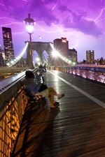 New York, USA, bridge, people, storm, night, lights iPhone wallpaper