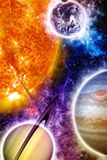 Universe, colors, planets, sun, moon, earth iPhone wallpaper