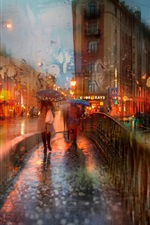 City at night, rainy day, people, umbrella iPhone wallpaper