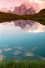 Lake, grass, mountains, water reflection iPhone wallpaper