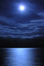 Moon, lake, water, night iPhone Wallpaper