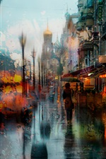 Rainy day, city, evening, lights iPhone wallpaper