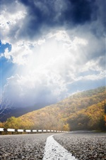 Road, sun, clouds, autumn iPhone wallpaper
