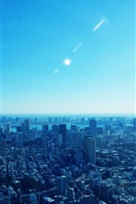 Top view city, houses, buildings, sun, blue style iPhone Wallpaper
