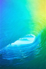 Tunnel formed by the waves iPhone Wallpaper