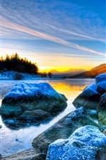 Winter sunset, rocks, river, snow iPhone wallpaper
