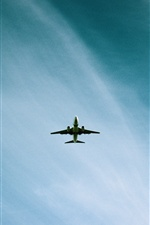 Airplane flight, blue sky iPhone wallpaper
