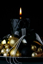 Christmas balls, candle, flame iPhone wallpaper