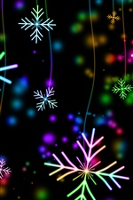 Colorful snowflakes, lights, glare iPhone wallpaper