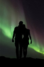 Couple, lovers, silhouettes, northern lights iPhone wallpaper