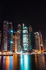 Dubai, UAE, skyscrapers, night, river iPhone wallpaper