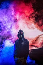 Gas mask, smoke, man, car iPhone wallpaper