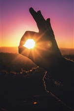 Hand, finger, rabbit shaped, sun rays iPhone Wallpaper