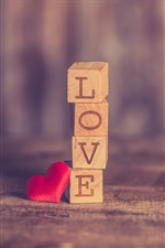 Love and heart, wood cubes iPhone wallpaper