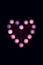 Love heart, candles, flame, purple style iPhone wallpaper