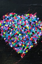 Love hearts graffiti wall, colorful iPhone wallpaper