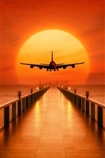 Pier, sea, airplane takeoff, sunset iPhone wallpaper