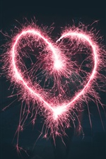 Pink love heart sparks iPhone Wallpaper