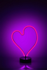 Purple neon light love heart iPhone wallpaper