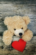 Teddy bear, wood board, love heart iPhone wallpaper