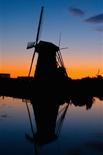 Windmills, silhouette, river, sunset, night iPhone wallpaper
