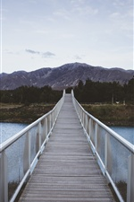 Bridge, river, mountain iPhone Wallpaper