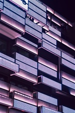Building, balconies, lighting, night iPhone Wallpaper