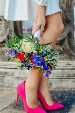 Girl legs, pink shoes, bouquet iPhone wallpaper