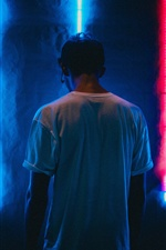 Man back view, neon iPhone wallpaper