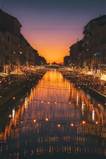 Milan, Italy, night, river, lights iPhone Wallpaper